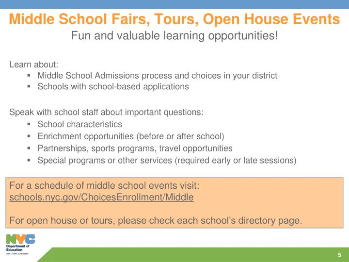 Middle School Fairs, Tours, Open House Events
