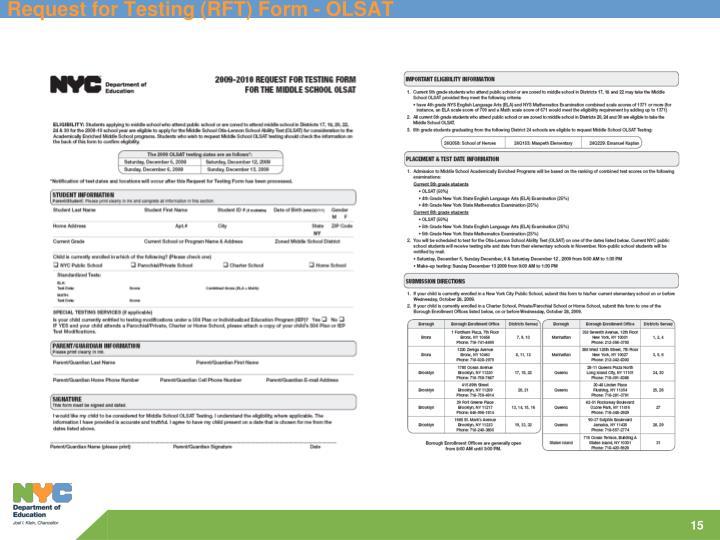 Request for Testing (RFT) Form - OLSAT