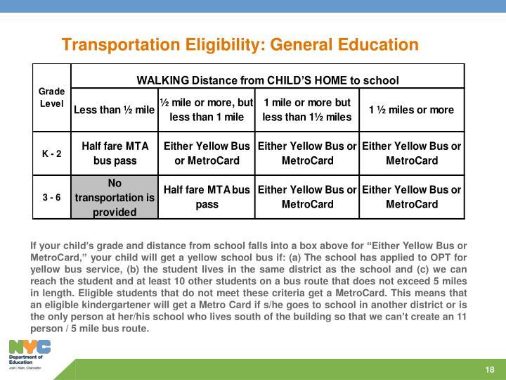 Transportation Eligibility: General Education