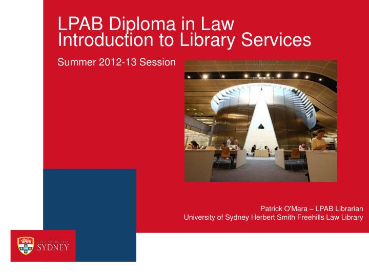 lpab diploma in law introduction to library services n.