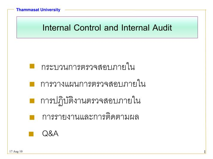internal control and internal audit n.