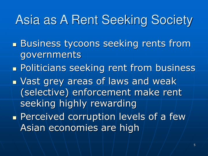 Asia as A Rent Seeking Society