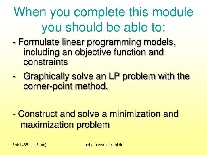distinguish between a minimization and maximization lp model