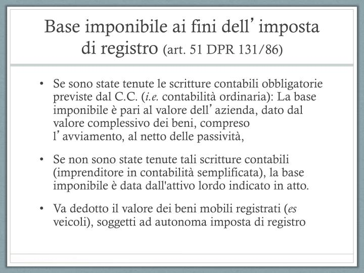 Base imponibile ai fini dell