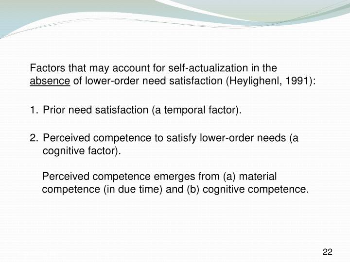 Factors that may account for self-actualization in the