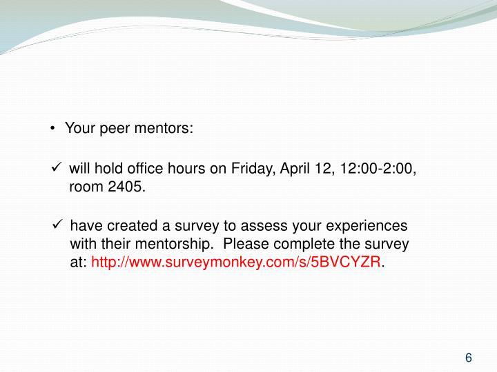Your peer mentors: