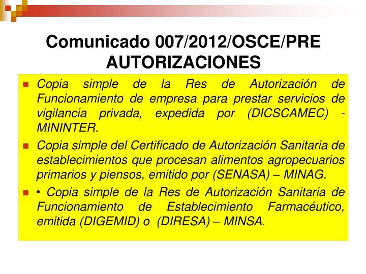 Comunicado 007/2012/OSCE/PRE