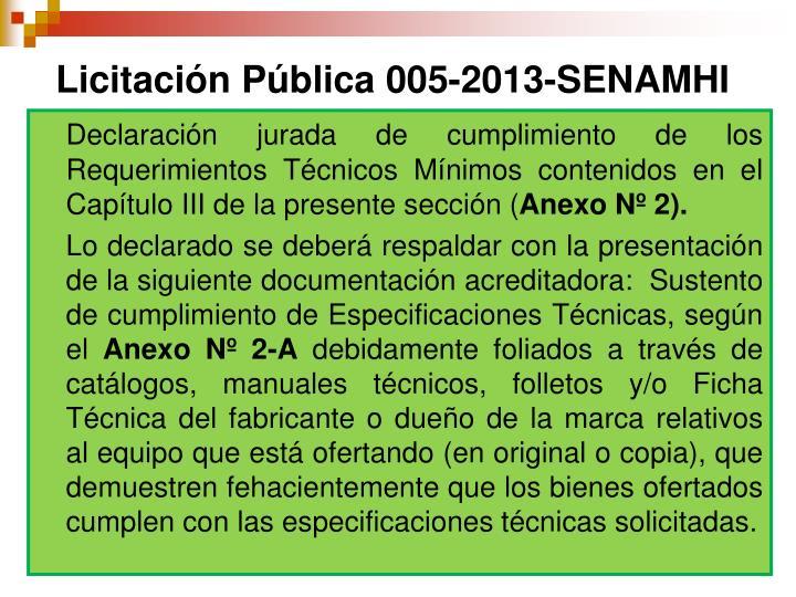 Licitación Pública 005-2013-SENAMHI