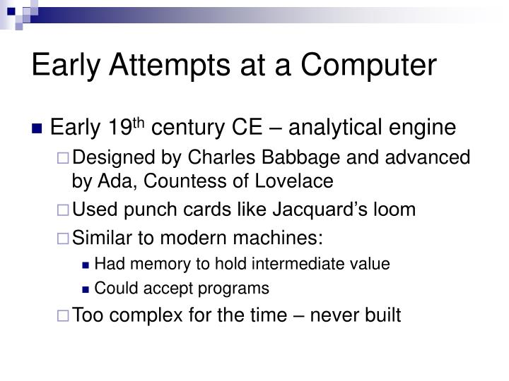 Early Attempts at a Computer