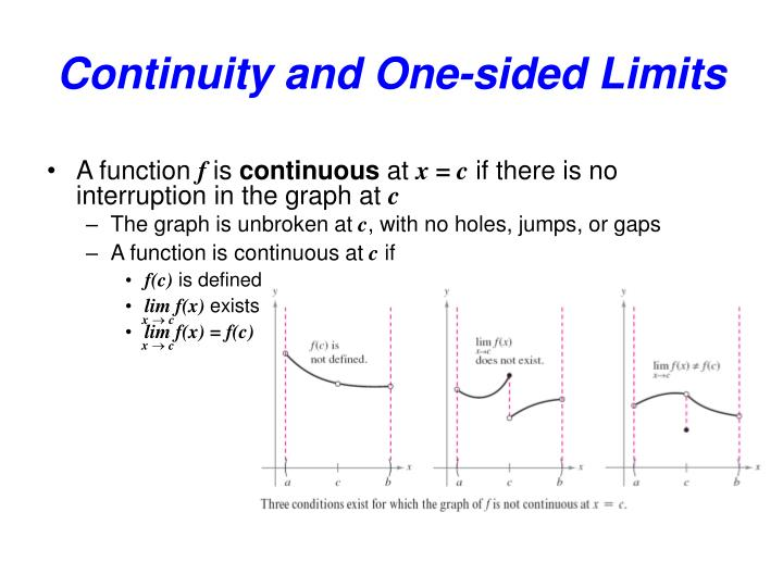 Continuity and one sided limits