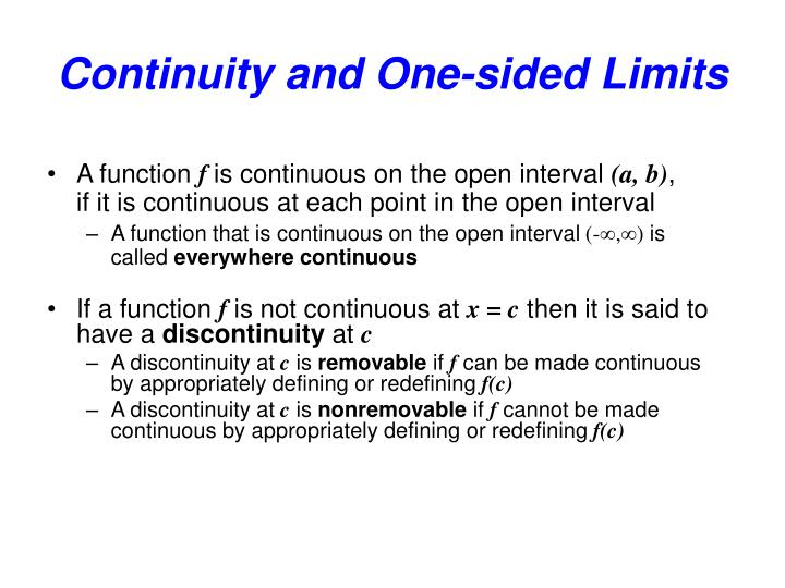 Continuity and one sided limits1