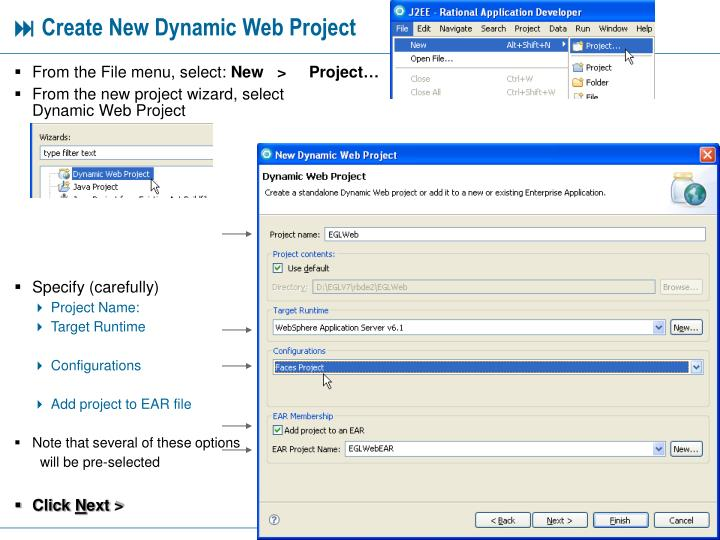Create new dynamic web project