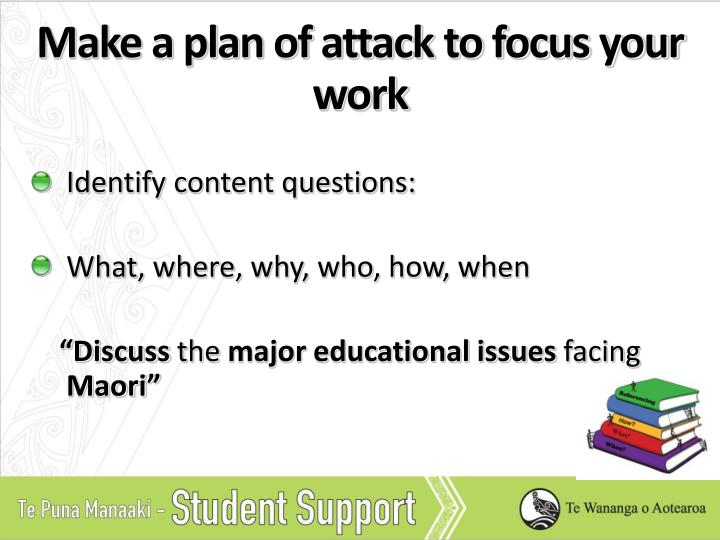 Make a plan of attack to focus your work