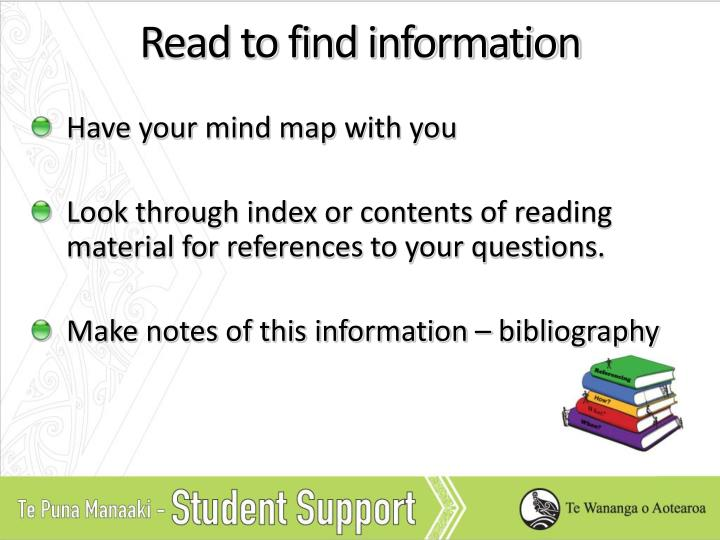 Read to find information