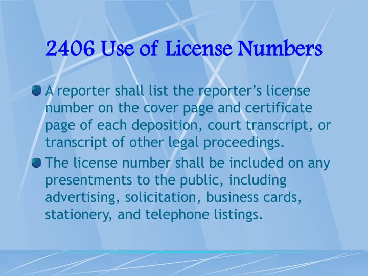 2406 Use of License Numbers
