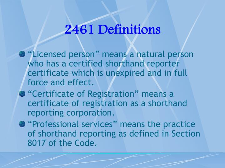 2461 Definitions