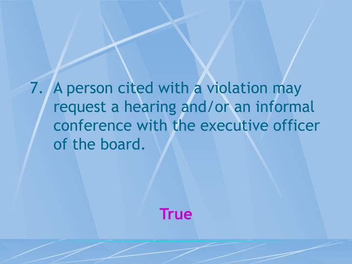 A person cited with a violation may request a hearing and/or an informal conference with the executive officer of the board.
