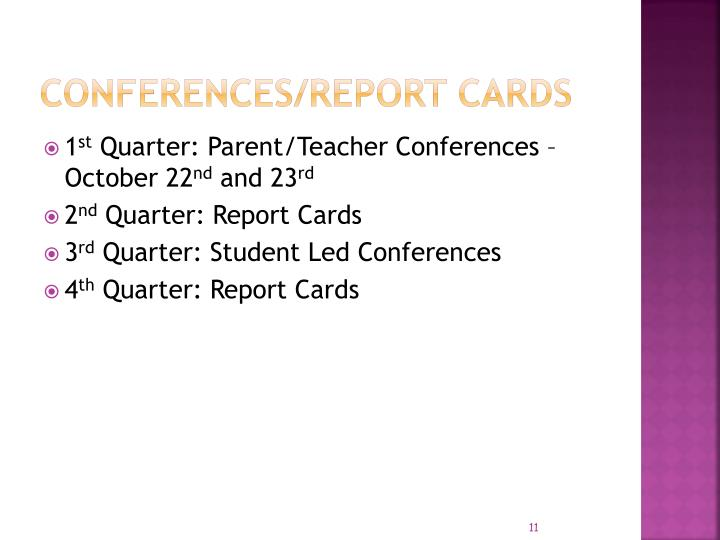 Conferences/report cards