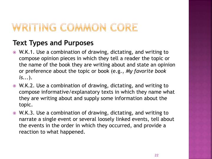 Writing COMMON CORE