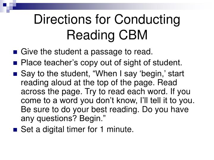 Directions for Conducting