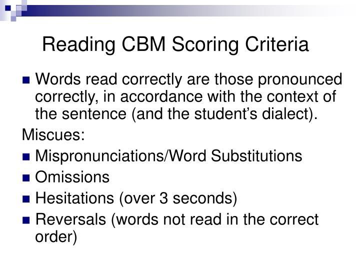 Reading CBM Scoring Criteria