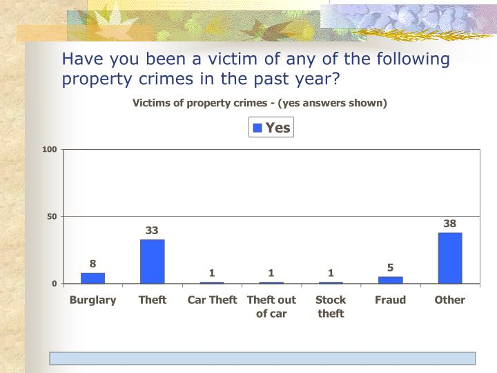 Have you been a victim of any of the following property crimes in the past year?