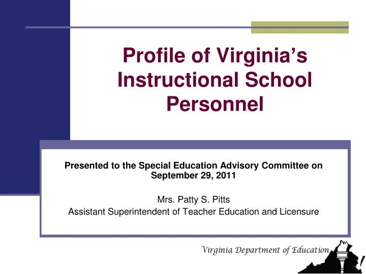 profile of virginia s instructional school personnel n.