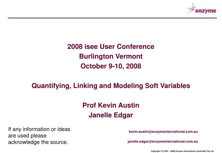 2008 isee User Conference