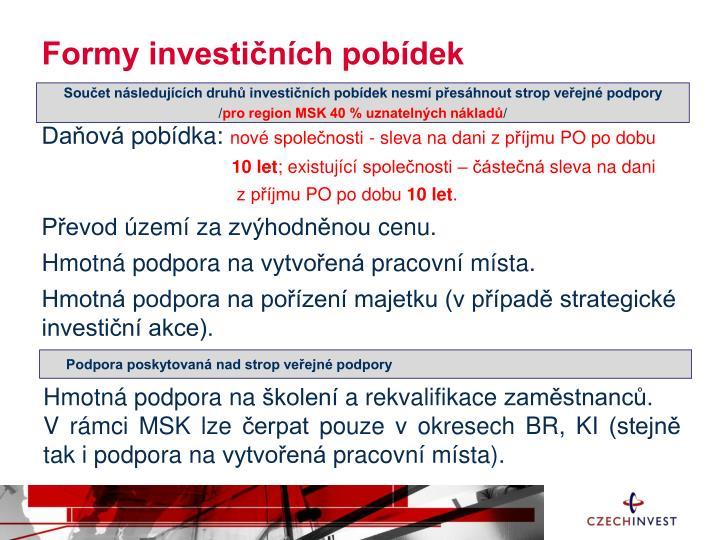 Formy investičních pobídek