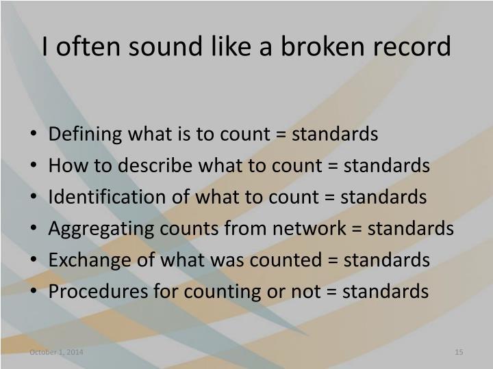 I often sound like a broken record