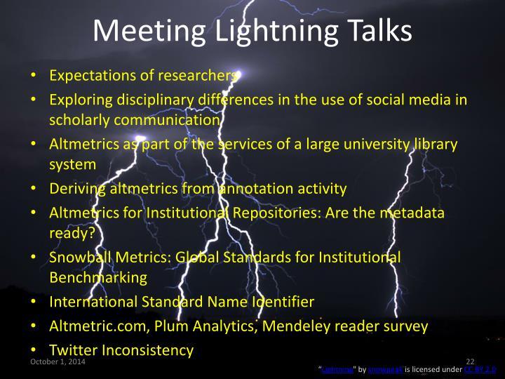 Meeting Lightning Talks
