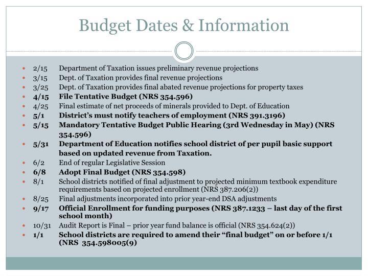 Budget dates information
