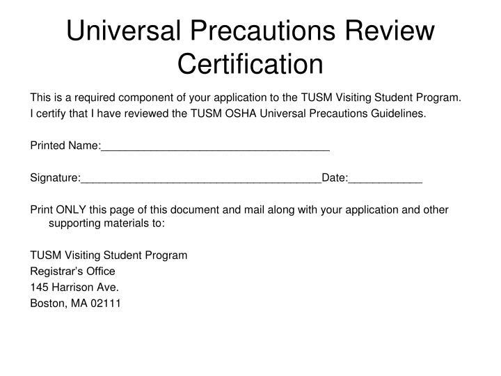 Universal Precautions Review