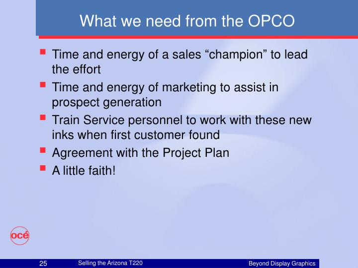 What we need from the OPCO