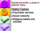 suicide prevention a study of patients views