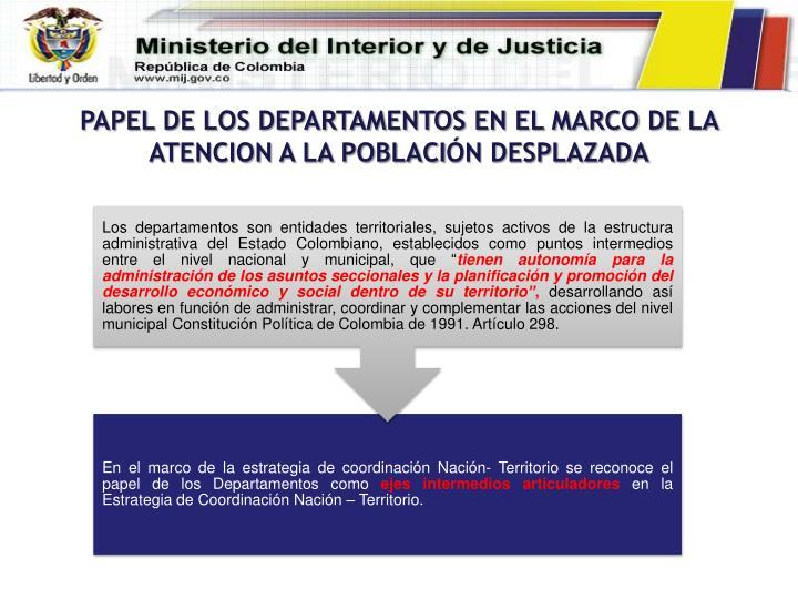 PAPEL DE LOS DEPARTAMENTOS EN EL MARCO DE LA ATENCION A LA POBLACI