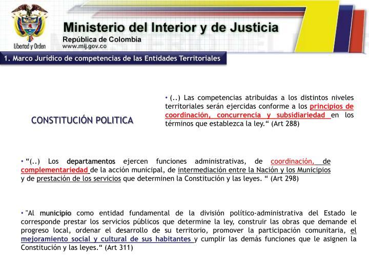1. Marco Jurídico de competencias de las Entidades Territoriales