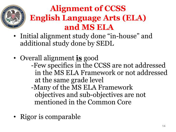 Alignment of CCSS