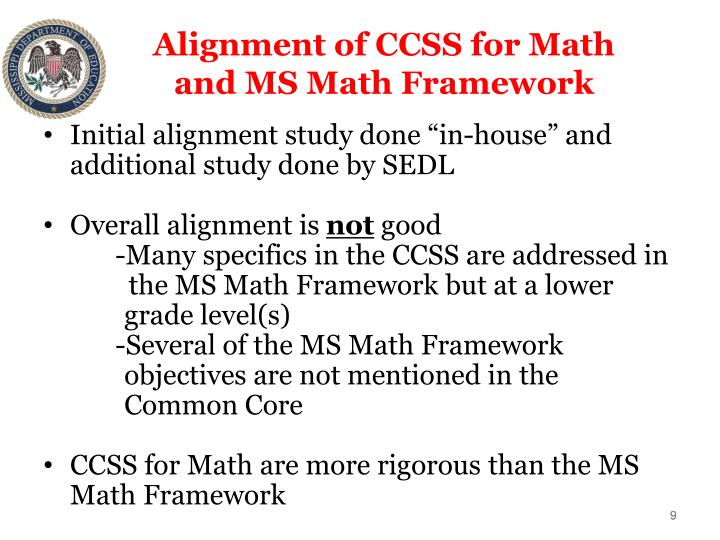 Alignment of CCSS for Math