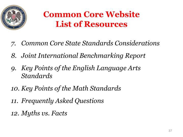 Common Core Website