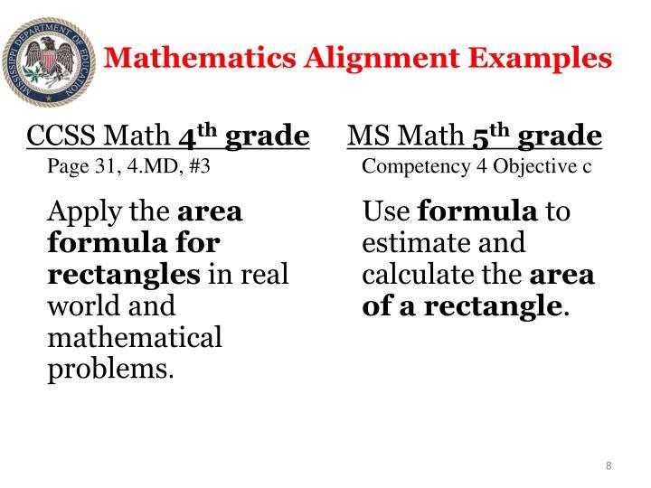 Mathematics Alignment Examples