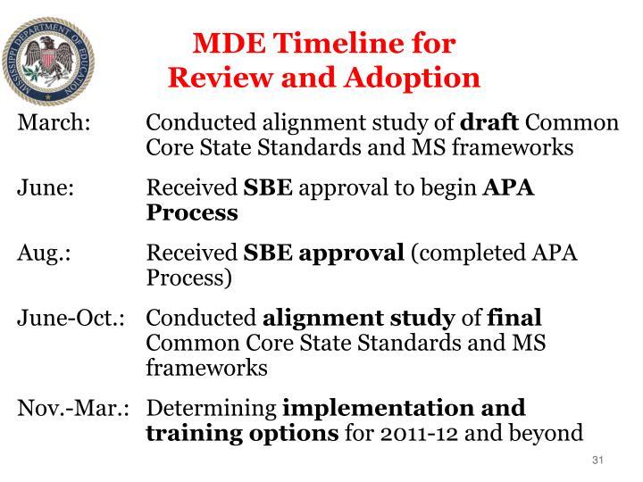 MDE Timeline for