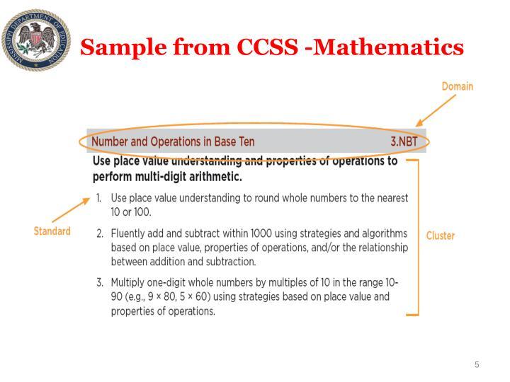Sample from CCSS -Mathematics