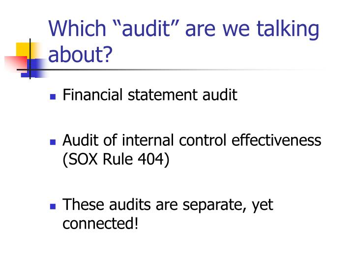 Which audit are we talking about