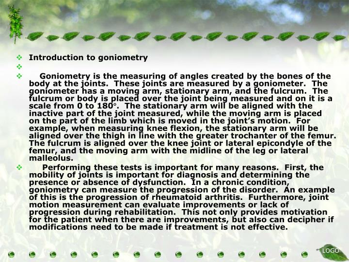 Introduction to goniometry