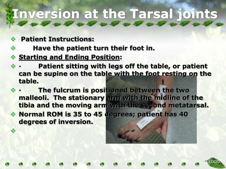Inversion at the Tarsal joints