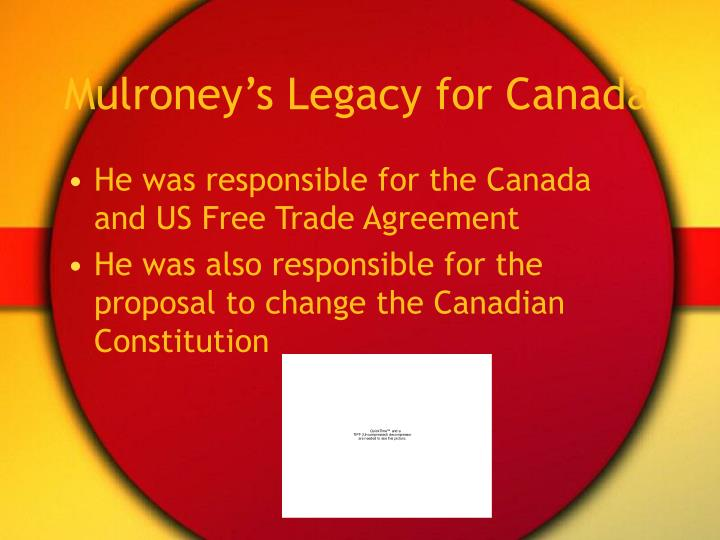 Mulroney's Legacy for Canada