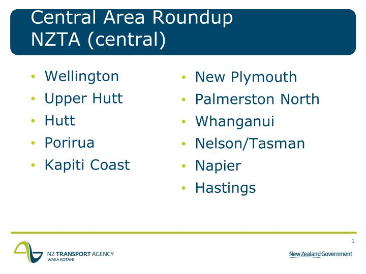 Central area roundup nzta central