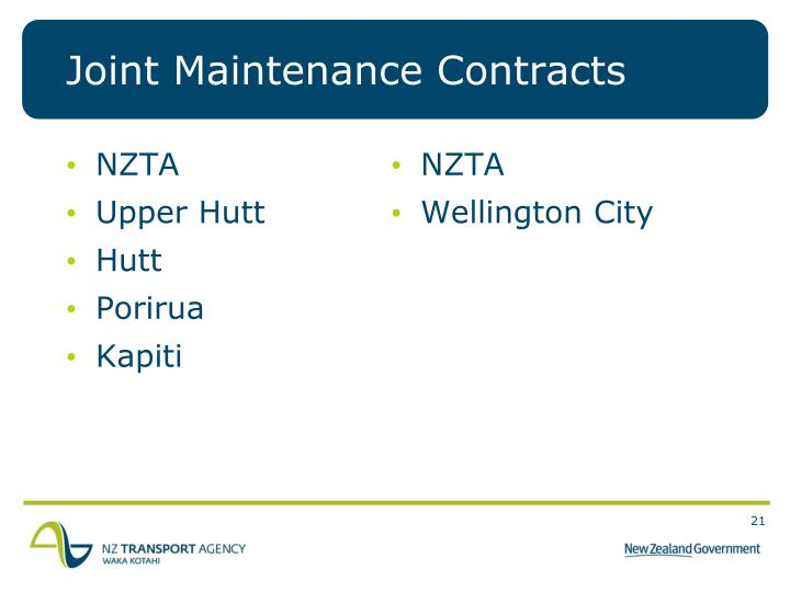 Joint Maintenance Contracts
