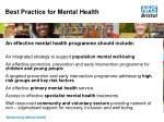 best practice for mental health